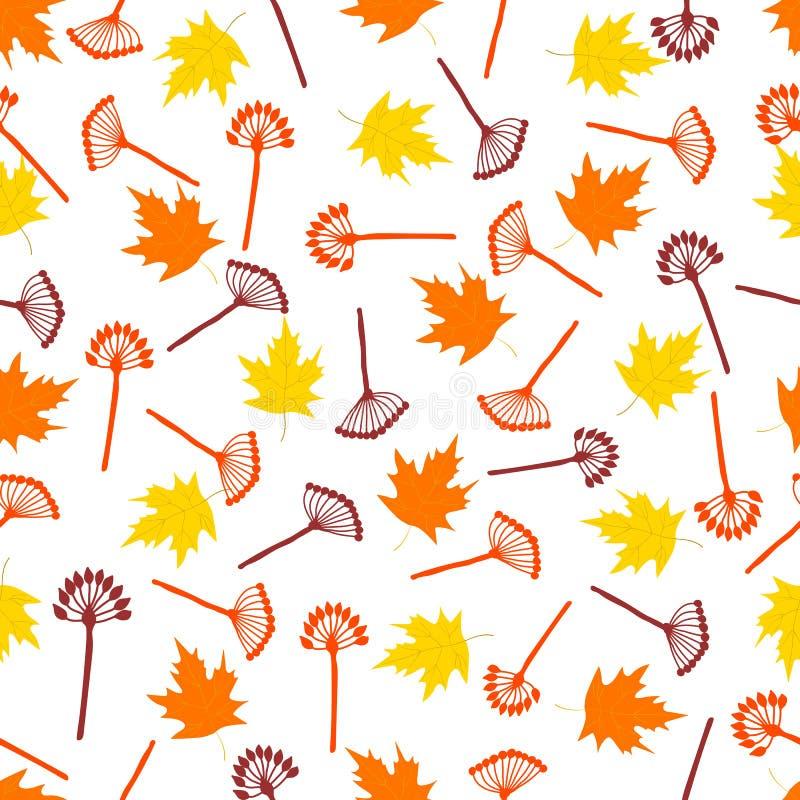 Άνευ ραφής σχέδιο με τα ζωηρόχρωμους φύλλα σφενδάμου και τους κλάδους ελεύθερη απεικόνιση δικαιώματος