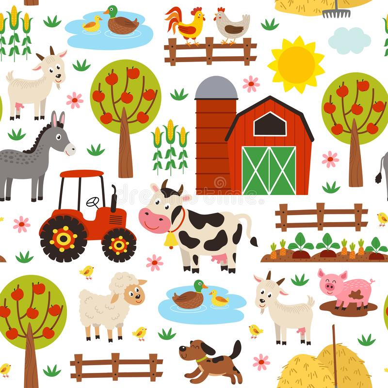 Άνευ ραφής σχέδιο με τα ζώα αγροκτημάτων στο άσπρο υπόβαθρο διανυσματική απεικόνιση