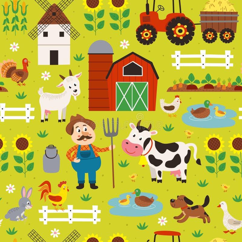 Άνευ ραφής σχέδιο με τα ζώα αγροτών και αγροκτημάτων απεικόνιση αποθεμάτων