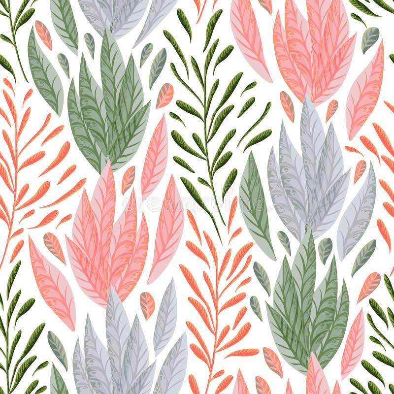Άνευ ραφής σχέδιο με τα θαλάσσια φυτά, τα φύλλα και το φύκι διανυσματική απεικόνιση