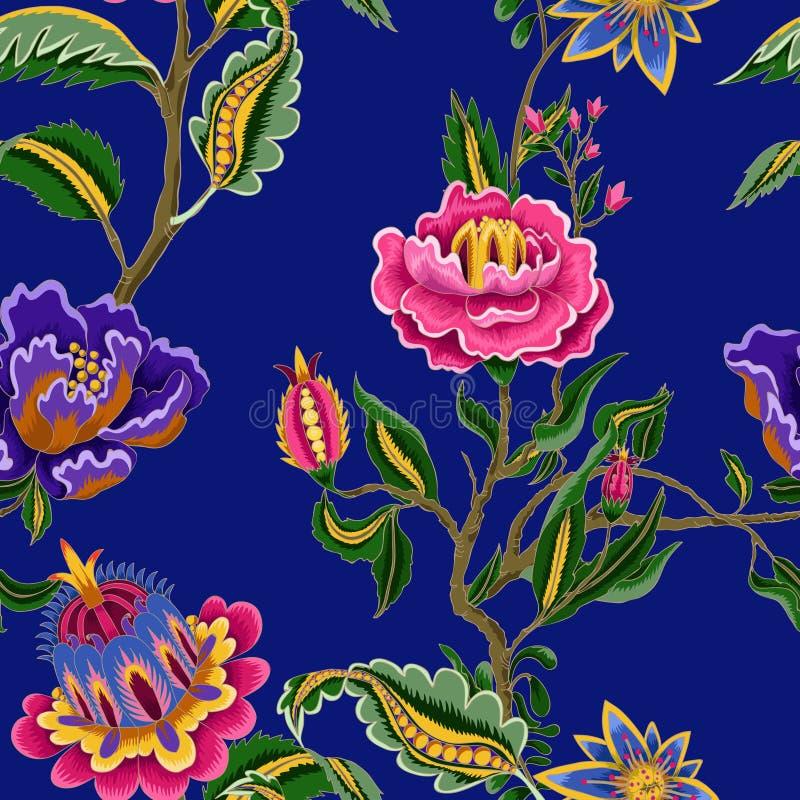 Άνευ ραφής σχέδιο με τα ινδικά εθνικά στοιχεία διακοσμήσεων Λαϊκά λουλούδια και φύλλα για την τυπωμένη ύλη ή την κεντητική επίσης ελεύθερη απεικόνιση δικαιώματος