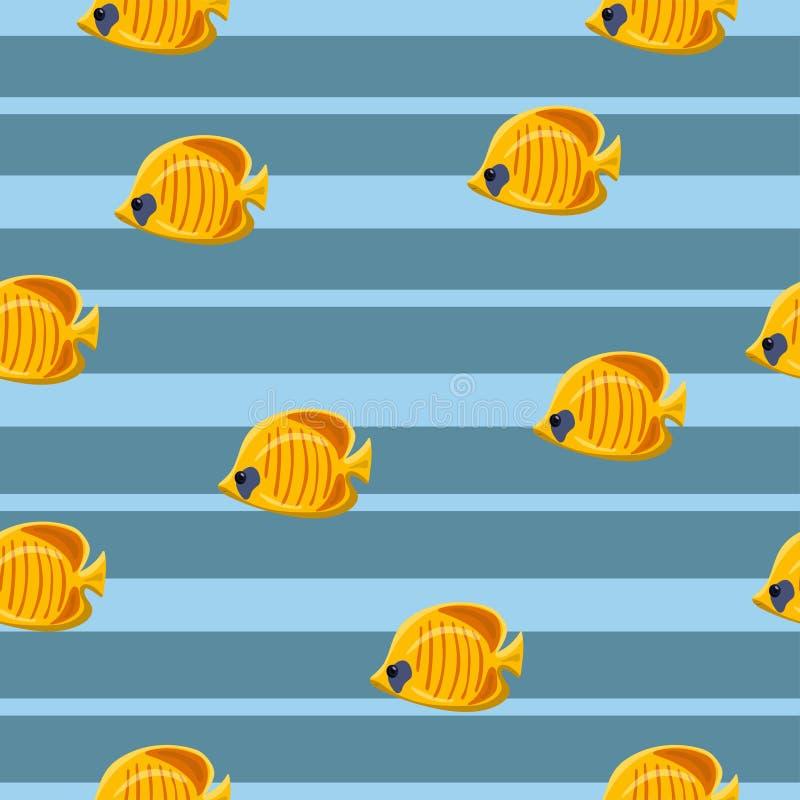 Άνευ ραφής σχέδιο με τα κίτρινα τροπικά ψάρια θάλασσας στο μπλε υπόβαθρο r διανυσματική απεικόνιση