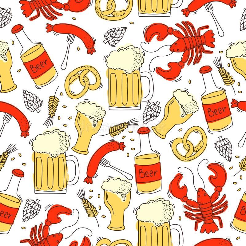 Άνευ ραφής σχέδιο με τα καβούρια, το λουκάνικο, την μπύρα, το λυκίσκο και το σιτάρι απεικόνιση αποθεμάτων