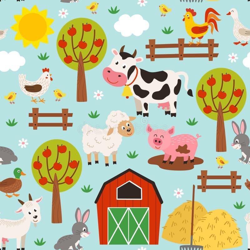 Άνευ ραφής σχέδιο με τα κατοικίδια ζώα barnyard απεικόνιση αποθεμάτων