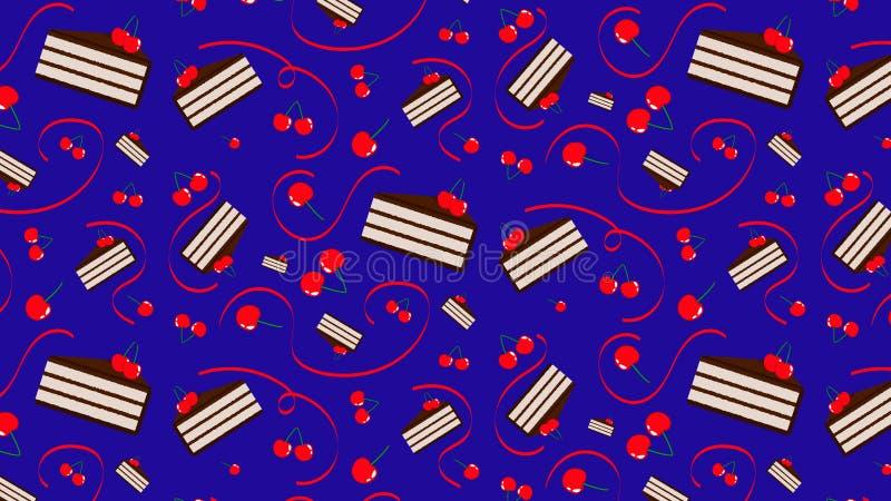 Άνευ ραφής σχέδιο με τα κεράσια και τα κέικ σοκολάτας διανυσματική απεικόνιση