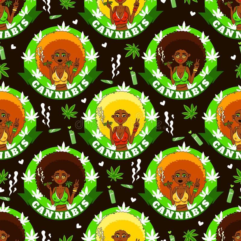 Άνευ ραφής σχέδιο με τα κορίτσια, τον καπνό, τον αναπτήρα, το marijuanna και τις καρδιές αφροαμερικάνων ελεύθερη απεικόνιση δικαιώματος