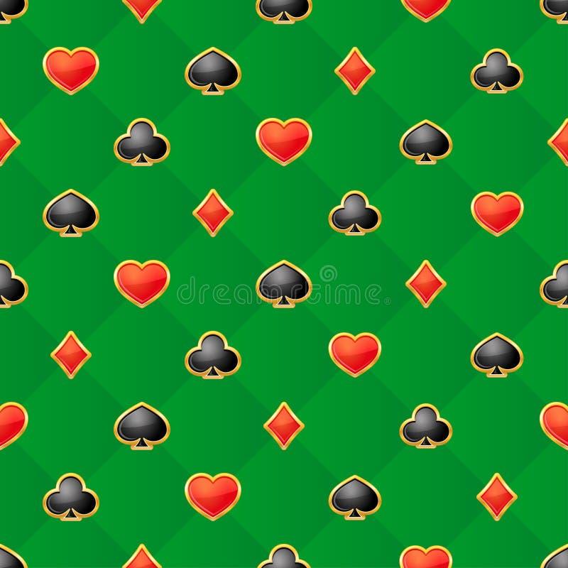 Άνευ ραφής σχέδιο με τα κοστούμια καρτών παιχνιδιού στο πράσινο υπόβαθρο διανυσματική απεικόνιση