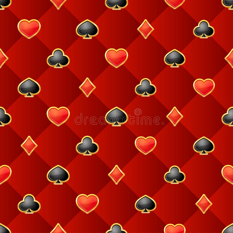 Άνευ ραφής σχέδιο με τα κοστούμια καρτών παιχνιδιού burgundy στο υπόβαθρο απεικόνιση αποθεμάτων