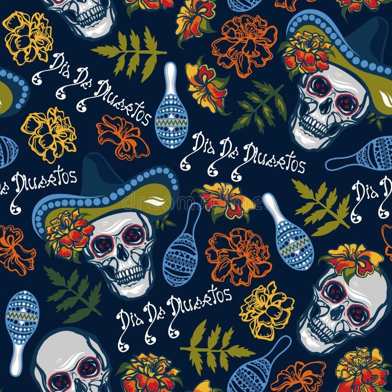 Άνευ ραφής σχέδιο με τα κρανία στα καπέλα με τα maracas, λουλούδια με marigolds ελεύθερη απεικόνιση δικαιώματος