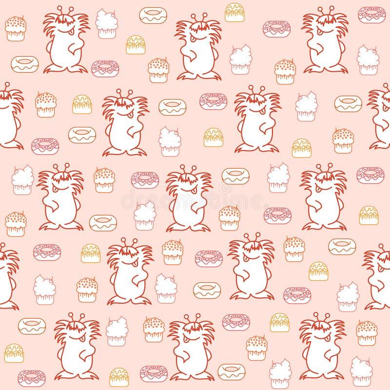 Άνευ ραφής σχέδιο με τα κόκκινα αστεία δασύτριχα τέρατα και τον κίτρινο, ρόδινο και κόκκινο πάγο creames, donuts και κέικ σε ένα  διανυσματική απεικόνιση