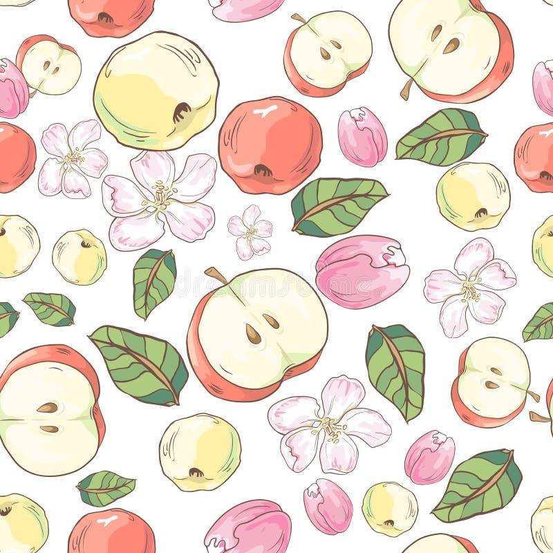 Άνευ ραφής σχέδιο με τα κόκκινα και κίτρινα μήλα, τα λουλούδια και τα φύλλα E διανυσματική απεικόνιση