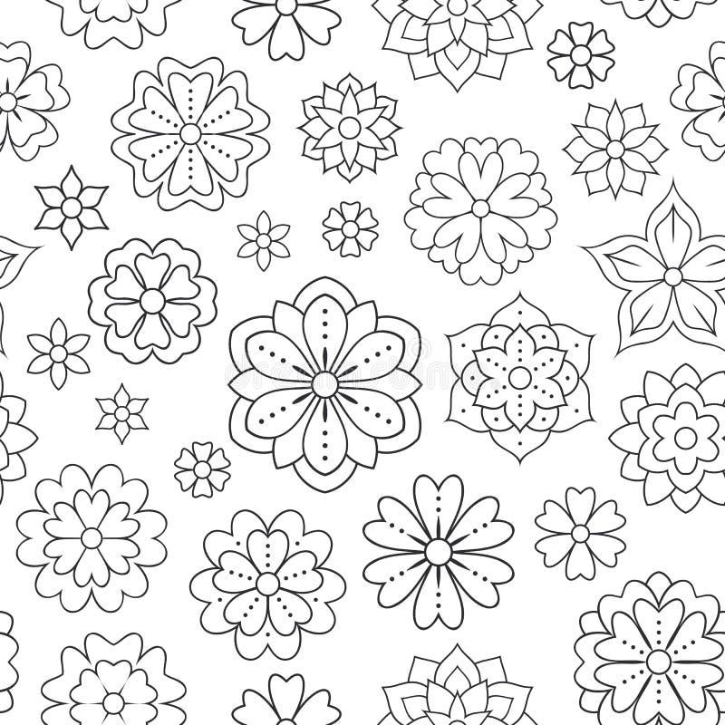 Άνευ ραφής σχέδιο με τα λουλούδια περιλήψεων για το χρωματισμό του βιβλίου Όμορφο floral υπόβαθρο για το έργο τέχνης χρώματος μον απεικόνιση αποθεμάτων