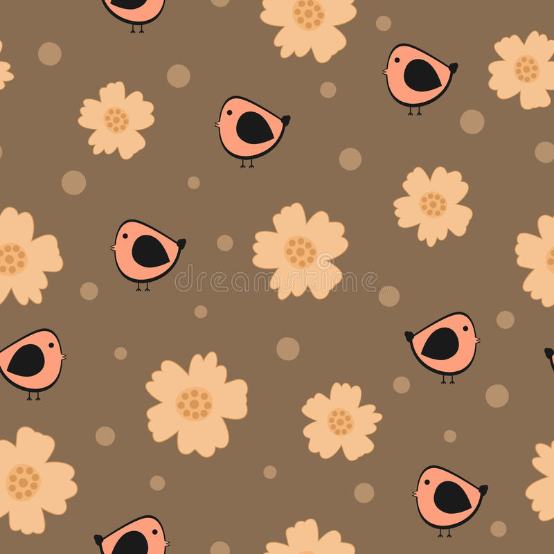 Άνευ ραφής σχέδιο με τα λουλούδια, τα πουλιά και τους κύκλους διανυσματική απεικόνιση