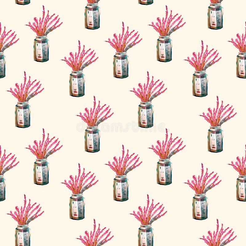 Άνευ ραφής σχέδιο με τα λουλούδια σε ένα βάζο γυαλιού στο ελαφρύ υπόβαθρο χέρι - γίνοντη ακρυλική ζωγραφική ελεύθερη απεικόνιση δικαιώματος