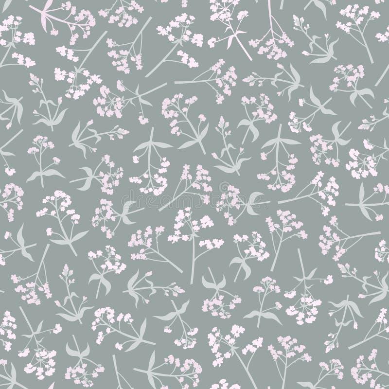 Άνευ ραφής σχέδιο με τα λουλούδια στο ροζ στοκ εικόνα με δικαίωμα ελεύθερης χρήσης
