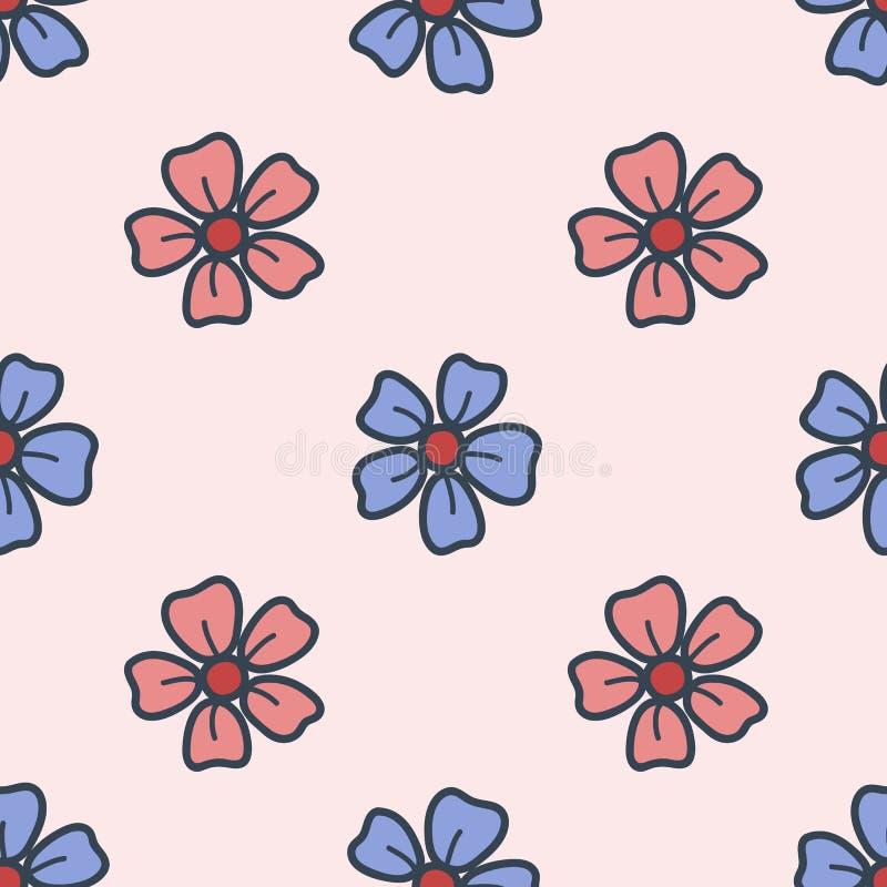 Άνευ ραφής σχέδιο με τα λουλούδια τομέων που σύρονται στο ύφος του χεριού που σύρεται ζωηρόχρωμη απεικόνιση eps10 να γεμίσει προτ απεικόνιση αποθεμάτων