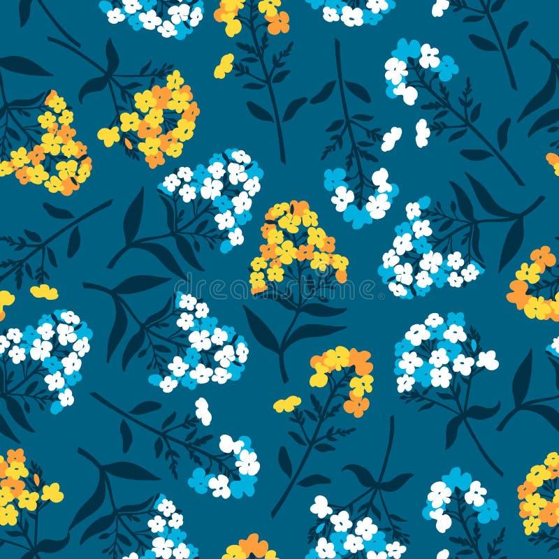 Άνευ ραφής σχέδιο με τα λουλούδια του phlox στο μπλε, κίτρινα ελεύθερη απεικόνιση δικαιώματος