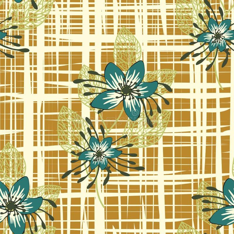 Άνευ ραφής σχέδιο με τα λουλούδια φαντασίας, floral απεικόνιση μπουκλών διακοσμήσεων Συρμένα χέρι στοιχεία τυπωμένων υλών του Pai διανυσματική απεικόνιση