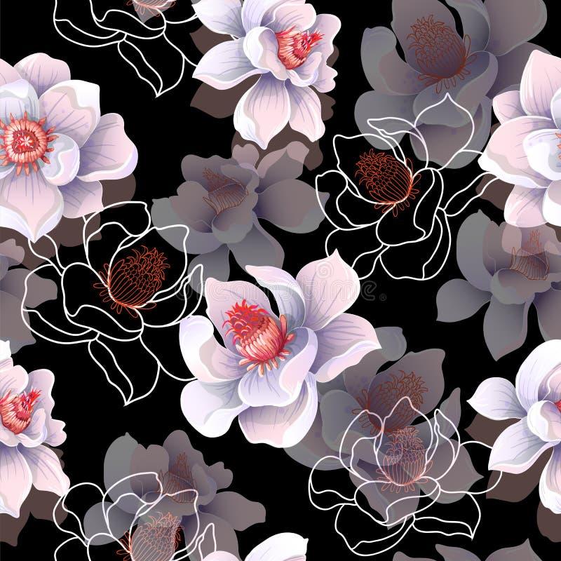 Άνευ ραφής σχέδιο με τα λουλούδια magnolia σε ένα μαύρο υπόβαθρο επίσης corel σύρετε το διάνυσμα απεικόνισης ελεύθερη απεικόνιση δικαιώματος