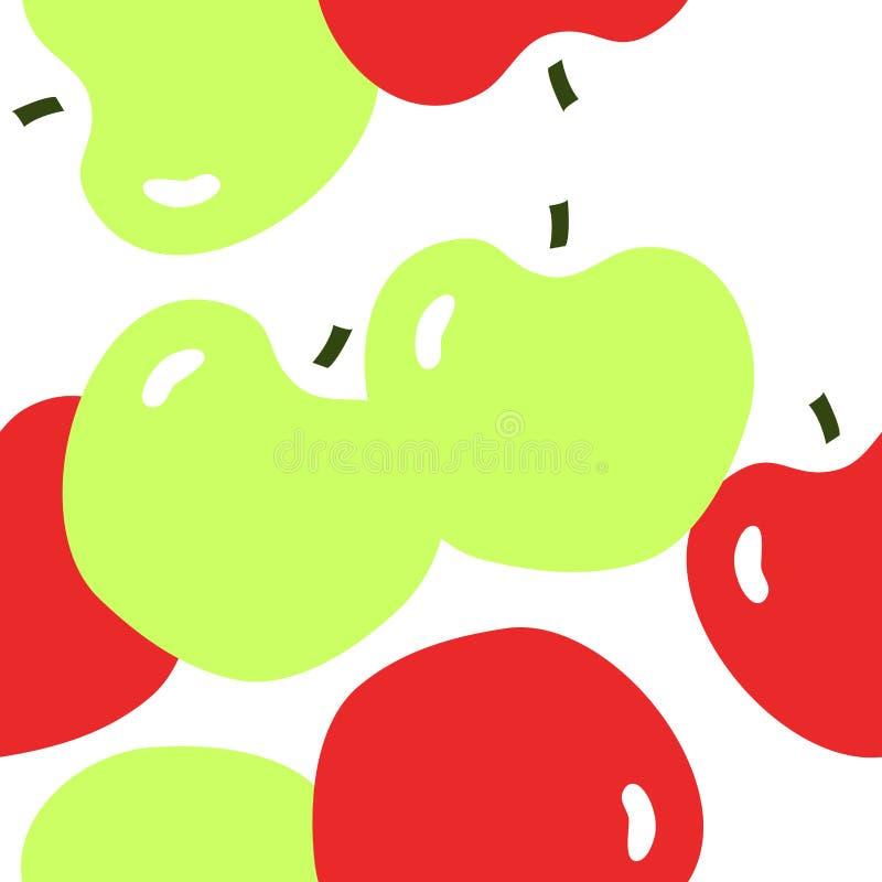 Άνευ ραφής σχέδιο με τα μήλα Επίπεδο σχέδιο μινιμαλισμού διανυσματική απεικόνιση