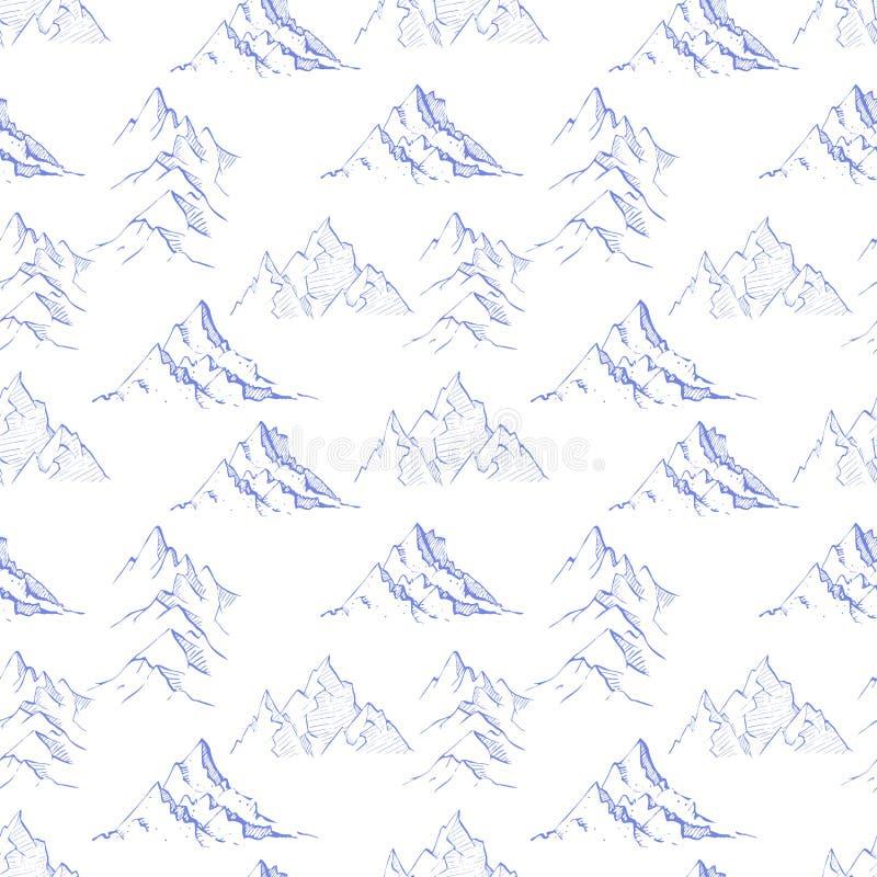 Άνευ ραφής σχέδιο με τα μπλε βουνά σκίτσων doodle στο άσπρο υπόβαθρο Μπορέστε να χρησιμοποιηθείτε για την ταπετσαρία, το σχέδιο γ απεικόνιση αποθεμάτων