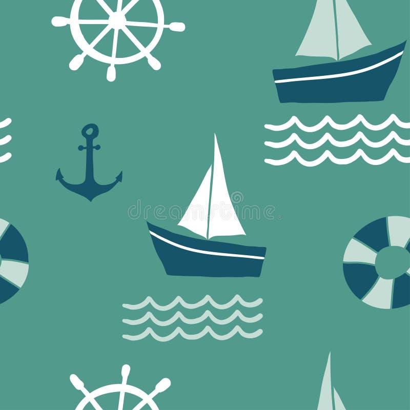Άνευ ραφής σχέδιο με τα ναυτικά στοιχεία σχεδίου απεικόνιση αποθεμάτων