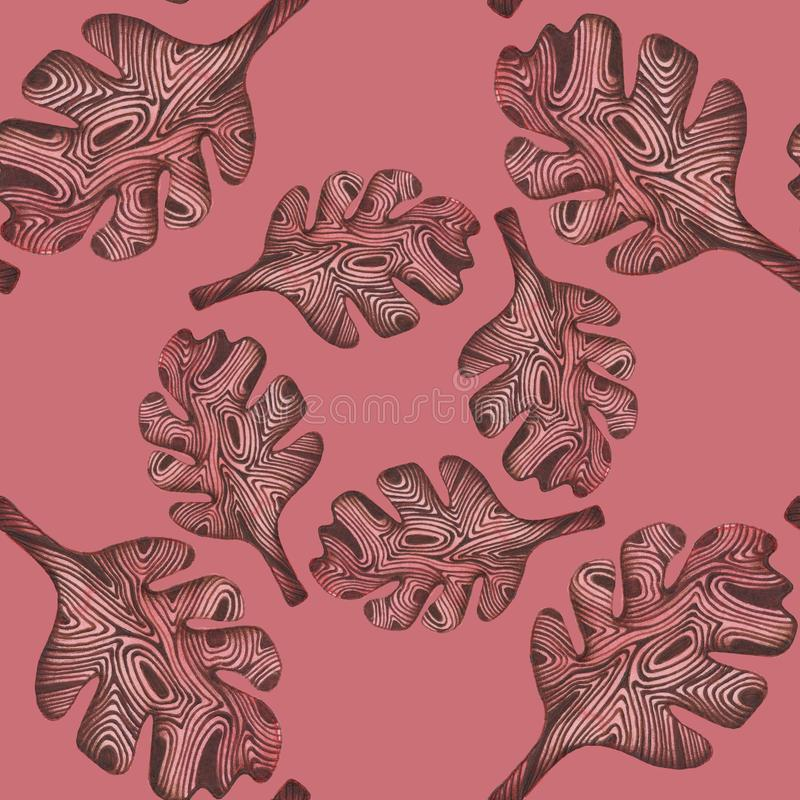 Άνευ ραφής σχέδιο με τα ξύλινα καφετιά φύλλα Σχέδιο χεριών με το watercolor και penball Απεικόνιση για τα clothers, έγγραφο δώρων ελεύθερη απεικόνιση δικαιώματος