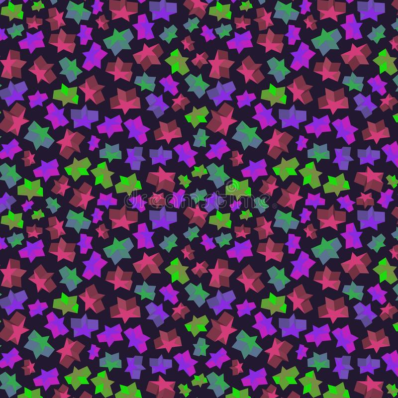 Άνευ ραφής σχέδιο με τα ογκομετρικά αστέρια χρώματος ελεύθερη απεικόνιση δικαιώματος