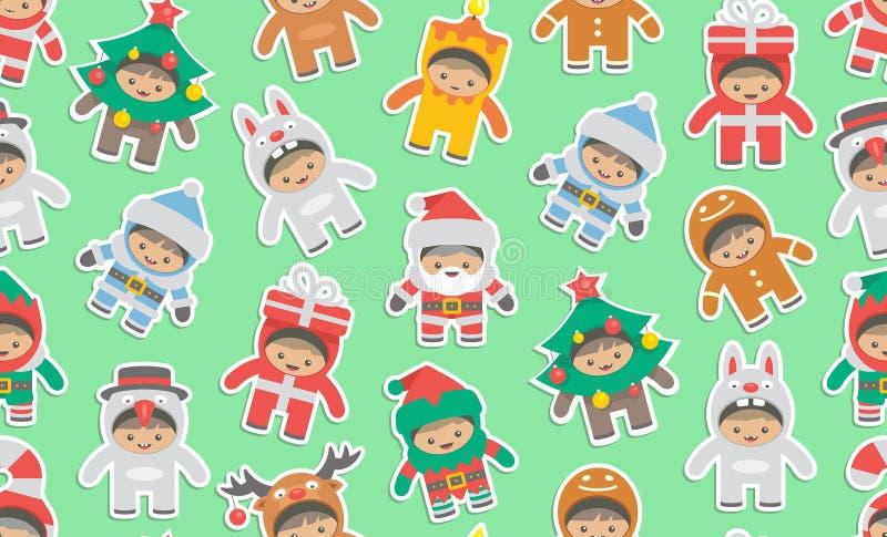Άνευ ραφής σχέδιο με τα παιδιά στα κοστούμια Χριστουγέννων απεικόνιση αποθεμάτων