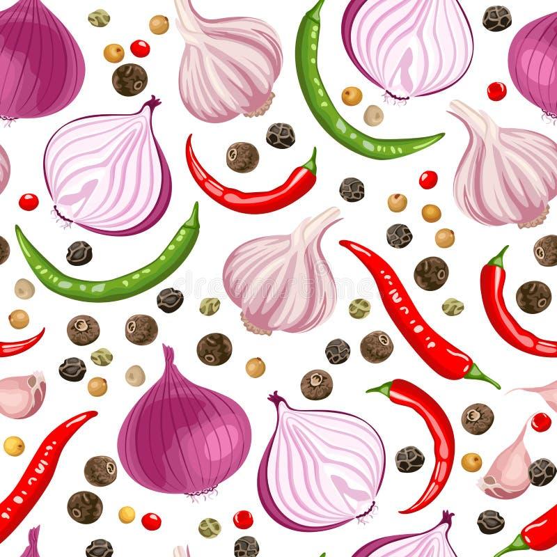 Άνευ ραφής σχέδιο με τα πικάντικα καρυκεύματα απεικόνιση αποθεμάτων