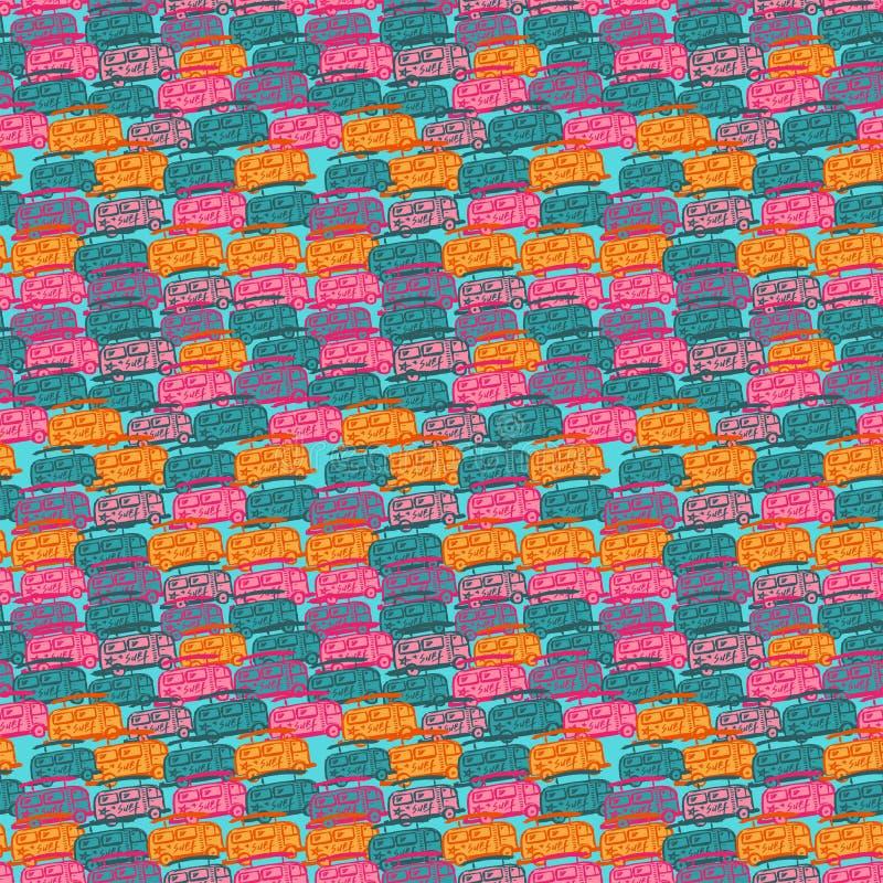 Άνευ ραφής σχέδιο με τα πολύχρωμα λεωφορεία απεικόνιση αποθεμάτων