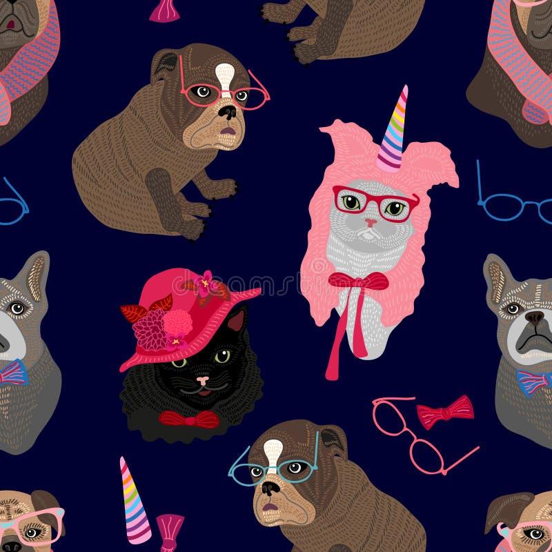 Άνευ ραφής σχέδιο με τα πορτρέτα γατών και σκυλιών διανυσματική απεικόνιση