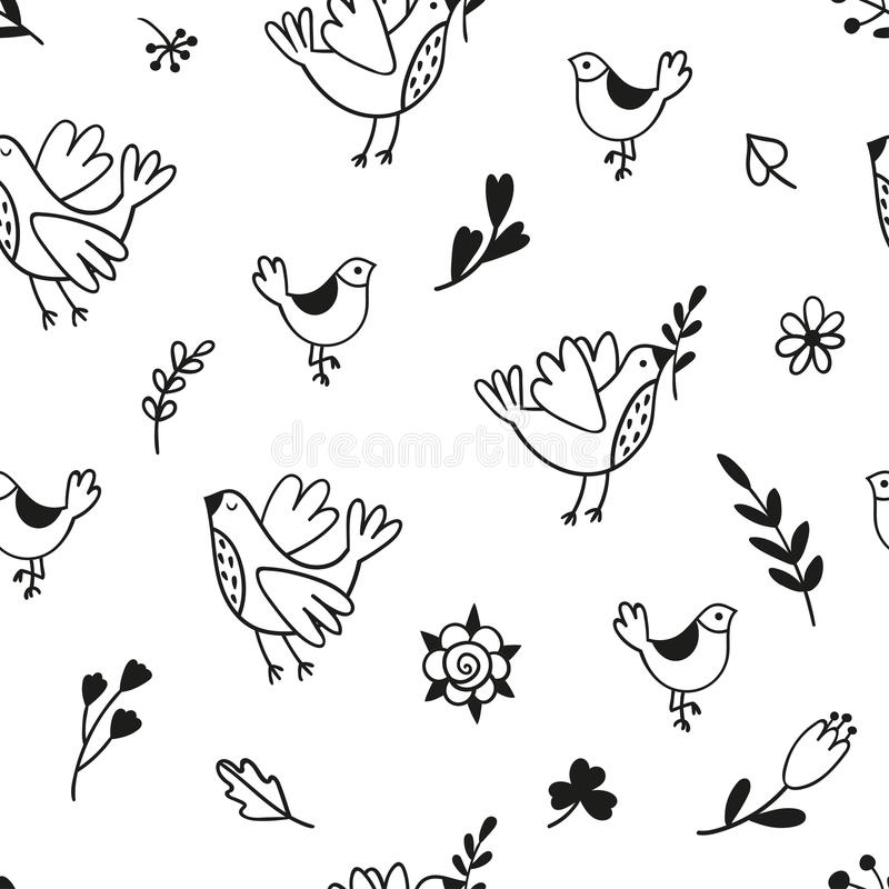 Άνευ ραφής σχέδιο με τα πουλιά, τους κλάδους και τα λουλούδια doodle Γραπτό διανυσματικό πρότυπο κατάλληλο διανυσματική απεικόνιση