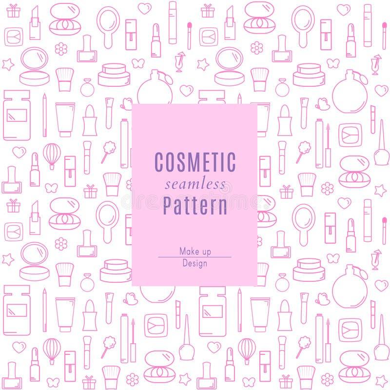 Άνευ ραφής σχέδιο με τα προϊόντα Makeup και τα εικονίδια καλλυντικών στοκ φωτογραφία