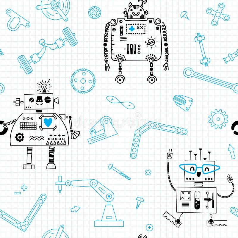 Άνευ ραφής σχέδιο με τα ρομπότ και λεπτομέρειες για τη ρομποτική κατασκευής επίσης corel σύρετε το διάνυσμα απεικόνισης απεικόνιση αποθεμάτων