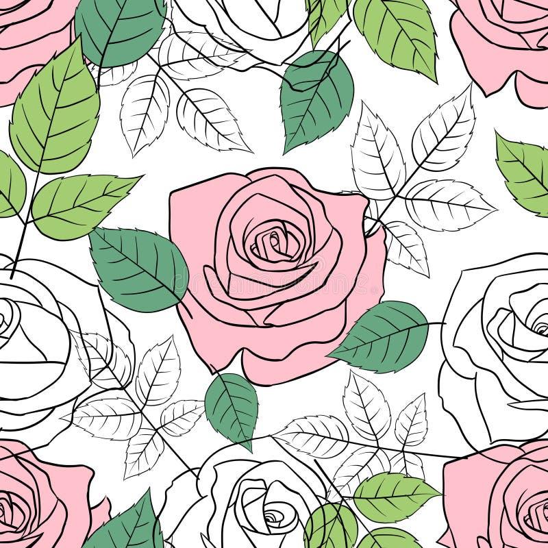 Άνευ ραφής σχέδιο με τα ρόδινα και άσπρα τριαντάφυλλα διανυσματική απεικόνιση