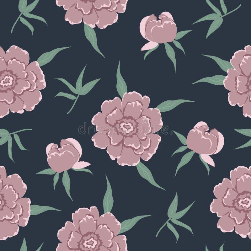 Άνευ ραφής σχέδιο με τα ρόδινα peonies και τα φύλλα σε ένα σκούρο μπλε υπόβαθρο ελεύθερη απεικόνιση δικαιώματος