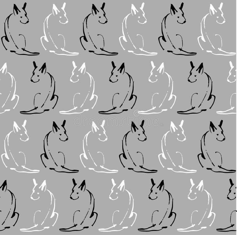 Άνευ ραφής σχέδιο με τα σκυλιά γραμμών σε ένα γκρίζο υπόβαθρο διανυσματική απεικόνιση