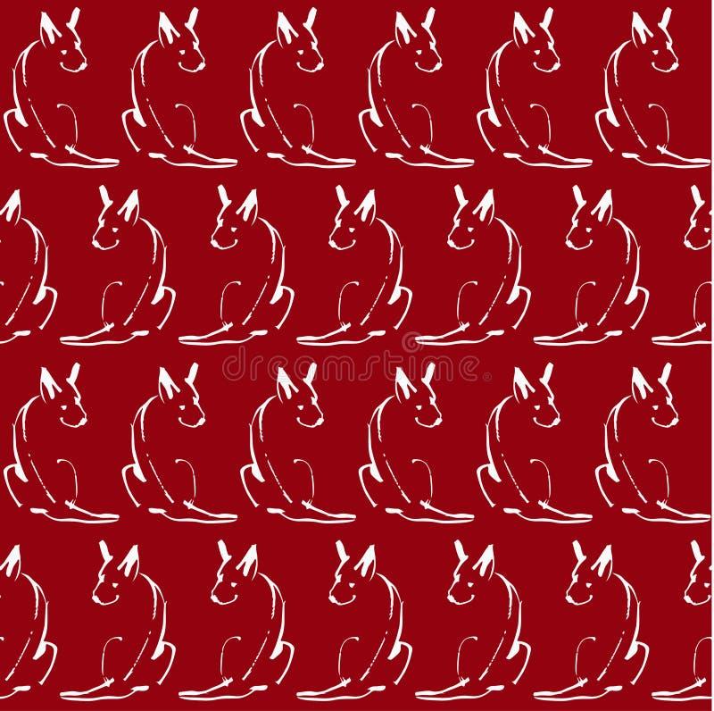 Άνευ ραφής σχέδιο με τα σκυλιά γραμμών σε ένα κόκκινο υπόβαθρο απεικόνιση αποθεμάτων