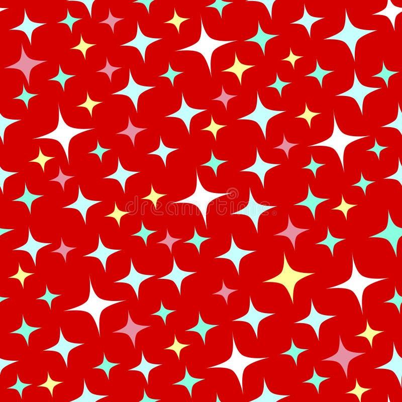 Άνευ ραφής σχέδιο με τα σπινθηρίσματα στο κόκκινο υπόβαθρο απεικόνιση αποθεμάτων