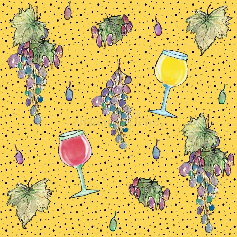 Άνευ ραφής σχέδιο με τα σταφύλια, τα ποτήρια του κρασιού και τα φύλλα, απεικόνιση watercolor ελεύθερη απεικόνιση δικαιώματος