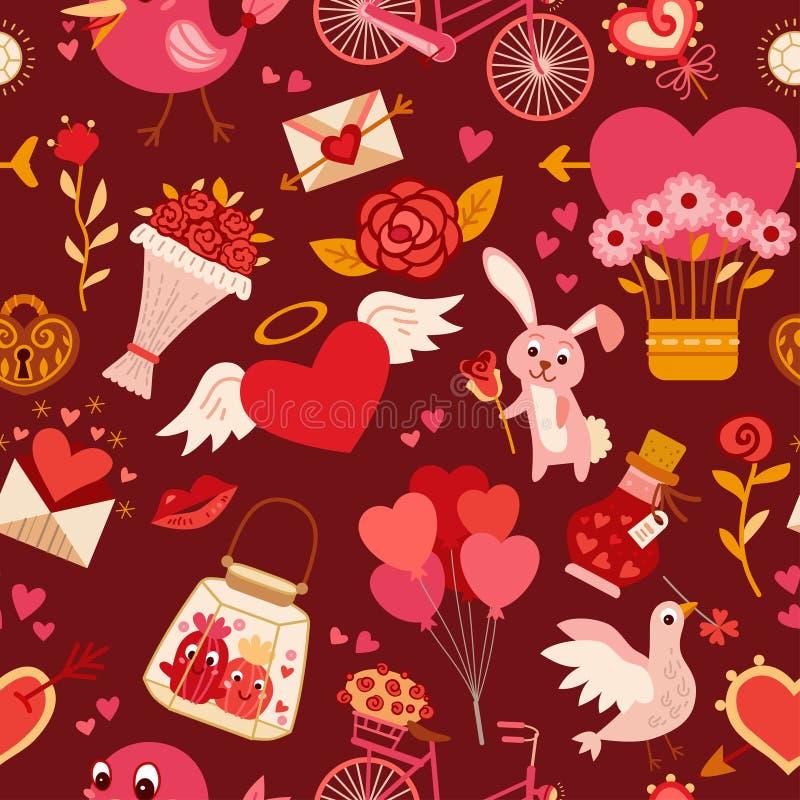 Άνευ ραφής σχέδιο με τα στοιχεία αγάπης επίσης corel σύρετε το διάνυσμα απεικόνισης διανυσματική απεικόνιση