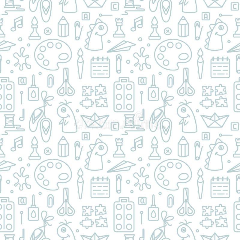 Άνευ ραφής σχέδιο με τα στοιχεία για τα δημιουργικά μαθήματα παιδιών στο γραμμικό ύφος διανυσματική απεικόνιση