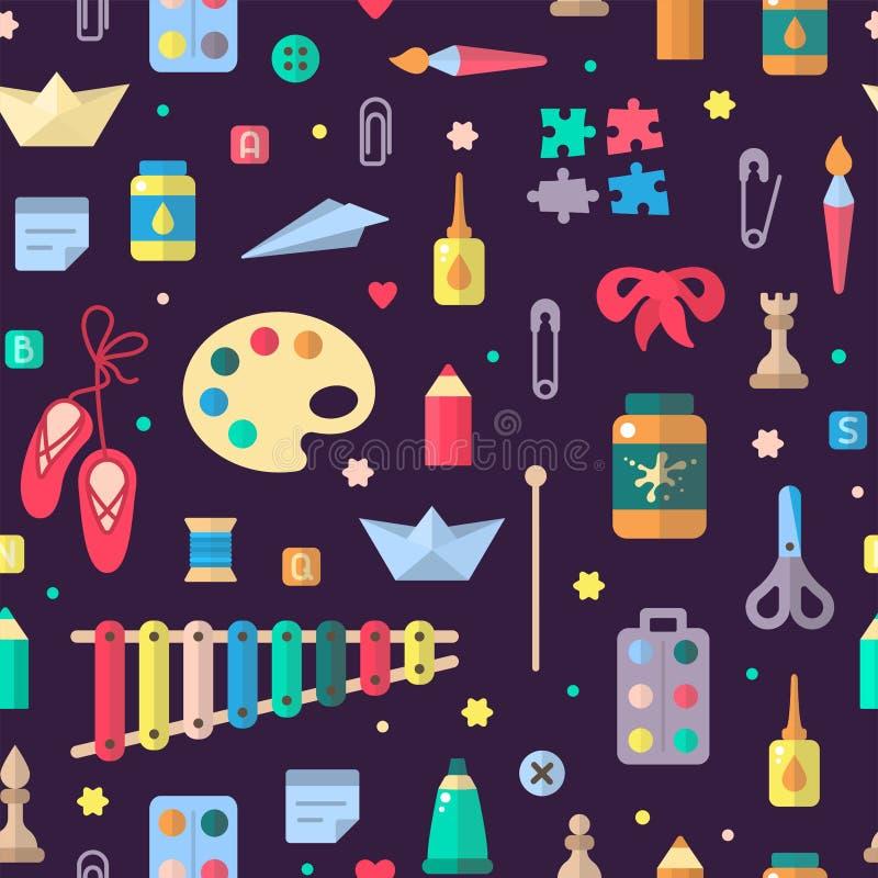 Άνευ ραφής σχέδιο με τα στοιχεία για τη δημιουργική δραστηριότητα παιδιών στο επίπεδο ύφος απεικόνιση αποθεμάτων