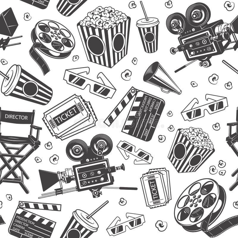 Άνευ ραφής σχέδιο με τα στοιχεία κινηματογράφων διανυσματική απεικόνιση