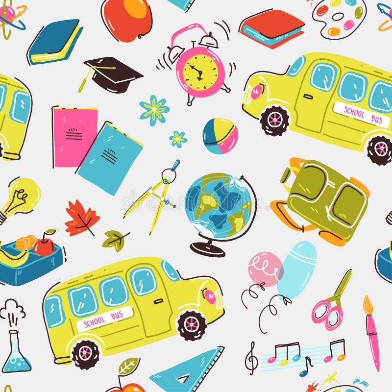 Άνευ ραφής σχέδιο με τα σχολικά σύμβολα Σχολικό λεωφορείο, ξυπνητήρι, σακίδιο πλάτης, χαρτικά και βιβλία απεικόνιση αποθεμάτων