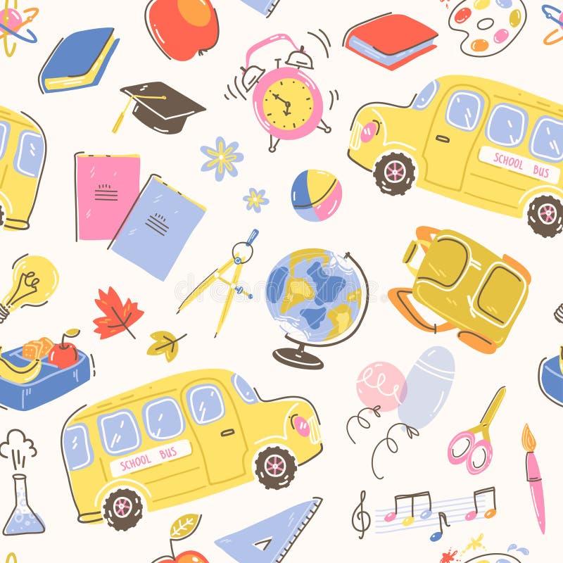 Άνευ ραφής σχέδιο με τα σχολικά σύμβολα Σχολικό λεωφορείο, ξυπνητήρι, σακίδιο πλάτης, χαρτικά και βιβλία διανυσματική απεικόνιση