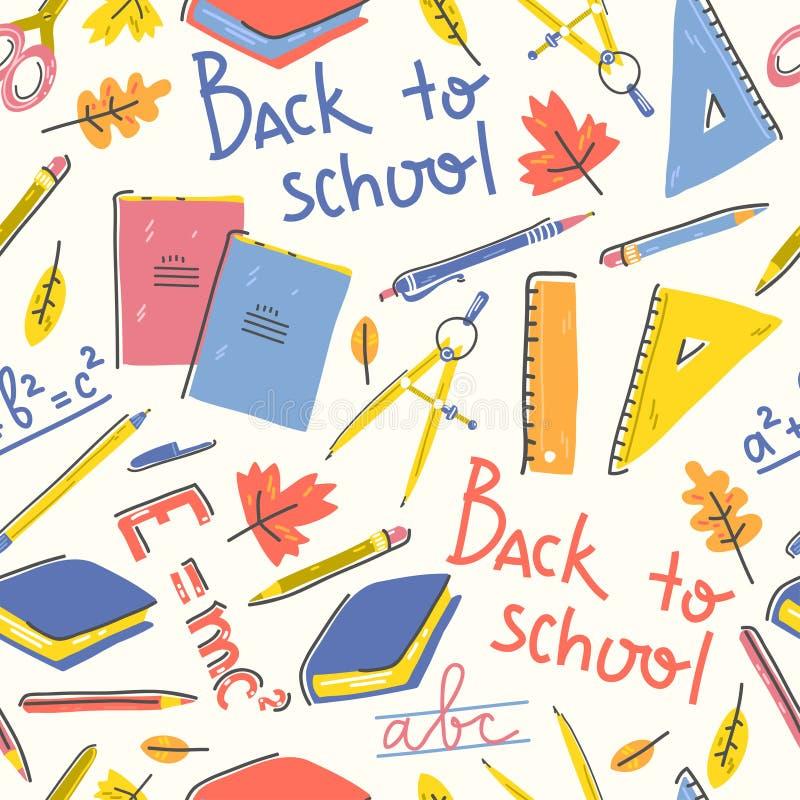 Άνευ ραφής σχέδιο με τα σχολικά χαρτικά και εγγραφή πίσω στο σχολείο απεικόνιση αποθεμάτων