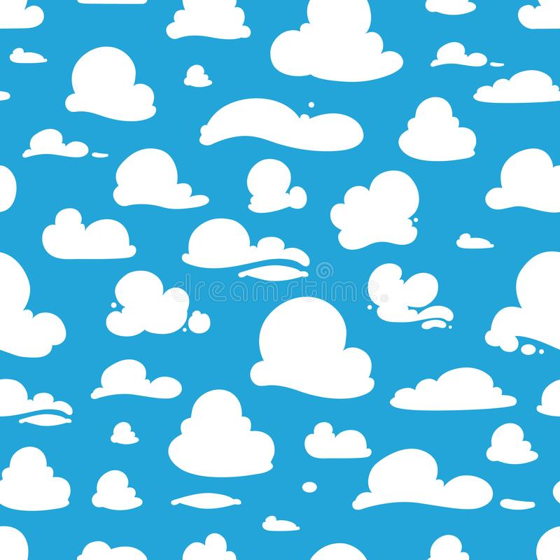 Άνευ ραφής σχέδιο με τα σύννεφα κινούμενων σχεδίων διανυσματική απεικόνιση