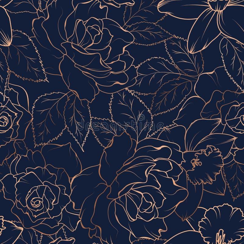 Άνευ ραφής σχέδιο με τα τριαντάφυλλα και daffodils στο σκοτάδι επίσης corel σύρετε το διάνυσμα απεικόνισης ελεύθερη απεικόνιση δικαιώματος